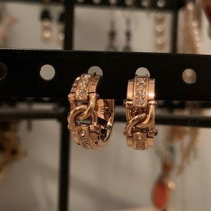 Rose Gold Plated Crystal Hoop Earrings